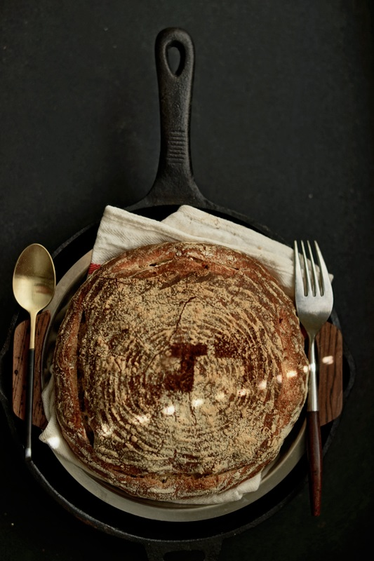 A round loaf with letter J on top surface