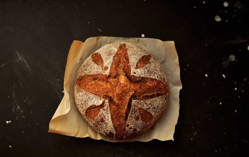 Artisan bread with a cross
